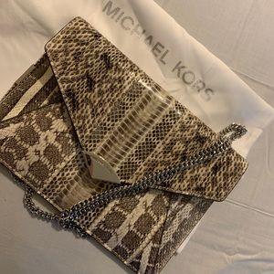 Michael Kors Genuine Snake Skin Clutch & Crossbody